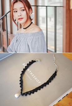 蕾丝肩带粒珍珠项链<br>