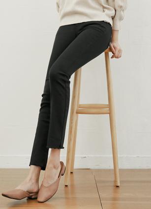 日常秘密绑带黑色修身日期裤子(801) <B>(S,M,L)</b> <br> [后者84件]