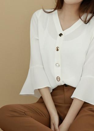 宝石纽扣装饰V字褶边袖衬衫<br> <b>广播赞助商品</b> <br>