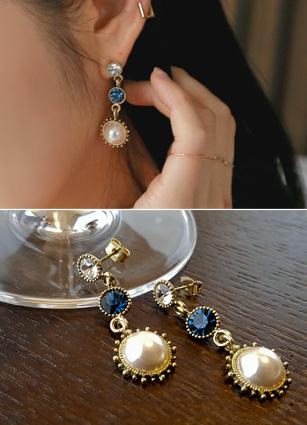 仿古石珍珠耳环<br>