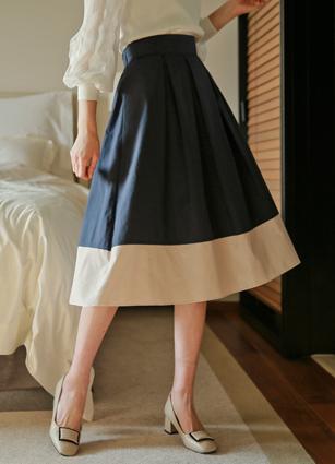 <b><FONT color=#980000>新◆</font></b>直到3月19 <b><FONT color=#980000>日7折</font></b> <br> Myel Hem Coloring Back Back Banding皱纹裙子<br>