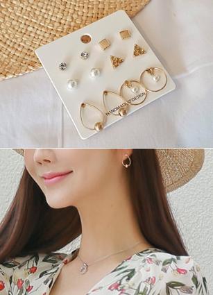 (6个套)金戒指耳耳环集