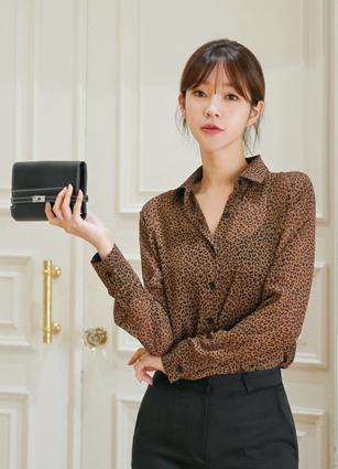 豹薄纱衬衫