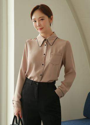 Central缝卡拉衬衫