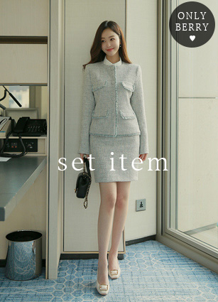 Belluna斜纹软呢夹克+裙子<br>