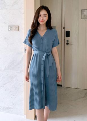 平原钮针织连衣裙(串组) <br>